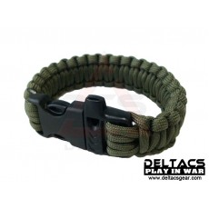 "Deltacs 8"" Survival Paracord Bracelet w/QD Buckle - OD Green"